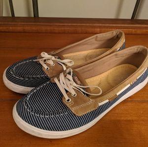 Keds Navy Blue Striped Boat Shoes Size 6.5 M EUC
